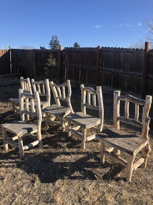 6 rustic chairs (wooden chairs) for Sale in Denver, CO