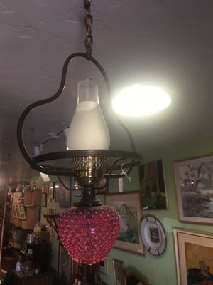 Antique vintage cranberry glass chandelier lamp light for Sale in San Diego, CA