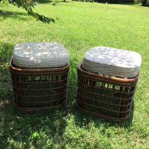 Vintage Pair of Rattan Ottoman Seating for Sale in Spring Hill, TN