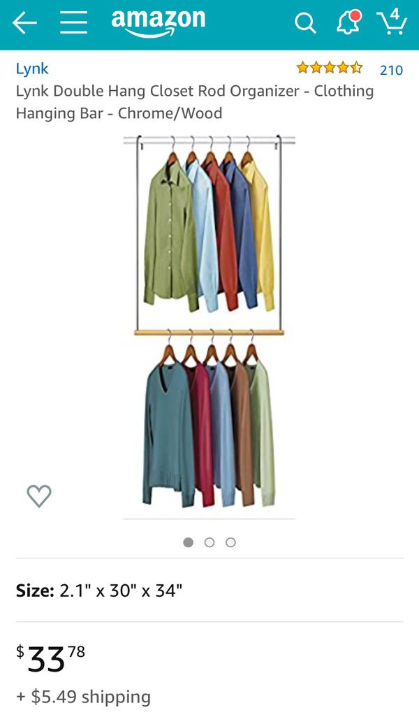 Lynk Double Hang Closet Rod Organizer HANGS OVER ANY CLOSET ROD ALSO FOR CHILDREN'S CLOSETS to put clothes easily within their reach