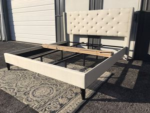 New king size platform bed frame ivory with tufted headboard for Sale in Columbus, OH