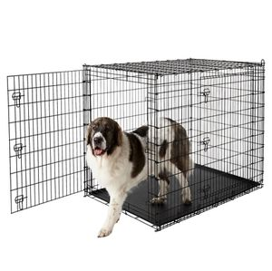 Frisco XX-Large Heavy Duty Double Door Wire Dog Crate- Black, 54-in & MidWest Stainless Steel Snap'y Fit Dog Kennel Bowl, 8 cup for Sale in North Huntingdon, PA