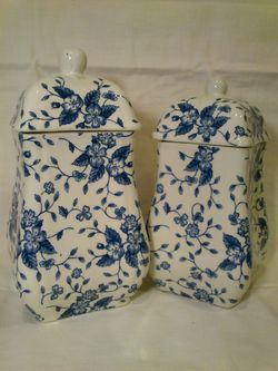 Pair of Royal Tudor Bouquet Canisters by Grindley for Sale in West Springfield,  VA