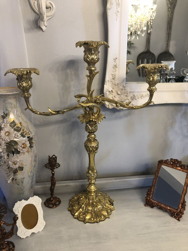 """Set of two PIECES 19TH CENTURY Antique Solid Brass CANDELABRA SET""""SERIOUS BUYERS ONLY """""""