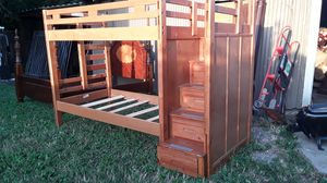 Solid wood twin over twin bunk bed with ladder storage good condition asking 440 delivered or best for Sale in Houston, TX