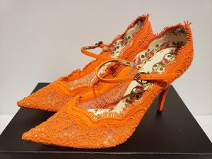 Gucci euro 37 size 7 orange lace shoes pumps heels for Sale in Houston, TX