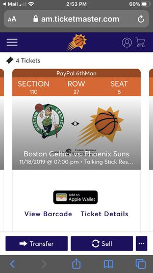 Suns Celtics tonight for Sale in Gilbert, AZ