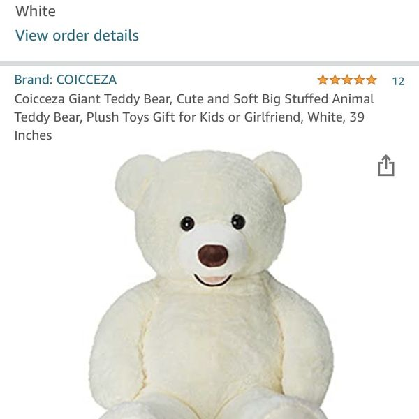 NEW Coicceza Giant Teddy Bear, Cute and Soft Big Stuffed Animal Teddy Bear, Plush Toys Gift for Kids or Girlfriend, White, 39 Inches