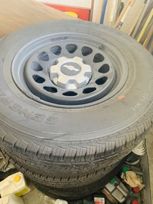 Four brand new 255/70/17 general grabber tires and rims, Tire pressure sensors, and center cap pieces. for Sale in St. Cloud, FL