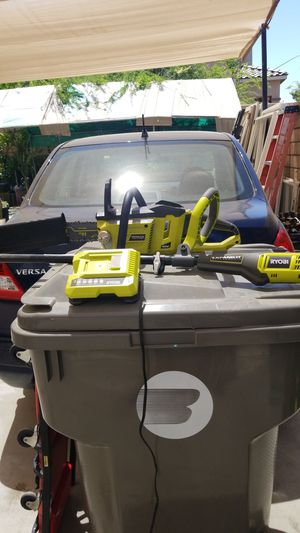 Weeder, chainsaw and battery charged for Sale in Coachella, CA