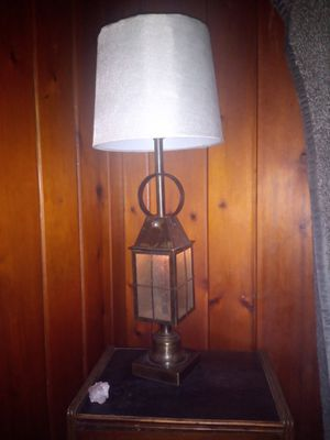 Antique vintage 2light Tell Chair Co weathered brass caged lantern for Sale in Dayton, OH
