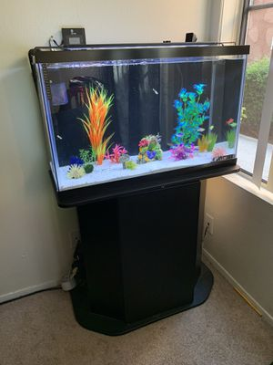 29 gallon fish tank freshwater aquarium with orbit marine led, stand, marineland canister filter, heater etx for Sale in National City, CA