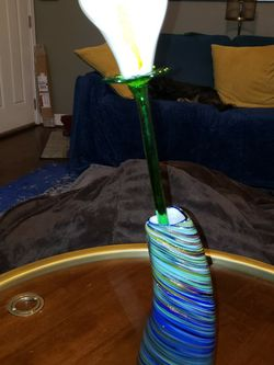 Hand Blown White Calla Lily W/ Blue And Gold Vase for Sale in Oxon Hill,  MD