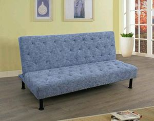 Brand New Light Blue Linen Fabric Tufted Sofa Bed With Nail Studded Trim for Sale in Puyallup, WA