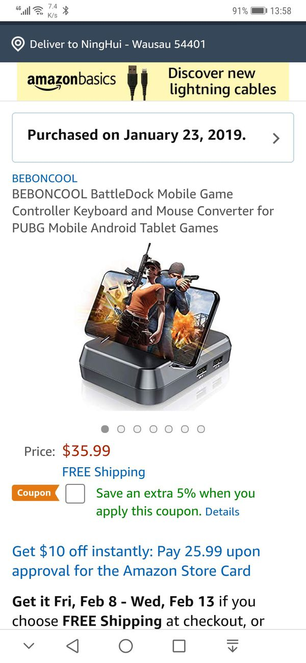 BEBONCOOL BattleDock Mobile Game Controller Keyboard and Mouse Converter  for PUBG Mobile Android Tablet Games for Sale in Brooklyn, NY - OfferUp