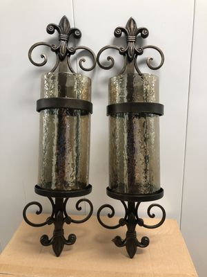 Cast Iron & Amber Glass Vertical Wall Hanging Candle Sconce *LIKE NEW* for Sale in Hayward, CA