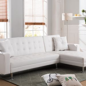 WHITE Tufted Faux Leather Sectional Sofa Bed 8036 for Sale in Newport Beach, CA