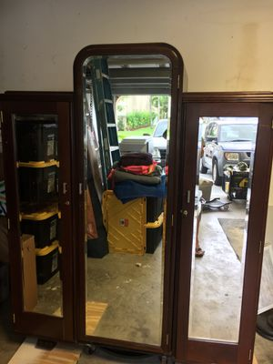 Antique Cedar Armoire with mirrored doors for Sale in Pembroke Pines, FL