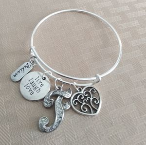 """Silver Bangle & Crystal """"F"""" Charm for Sale in Baltimore, MD"""