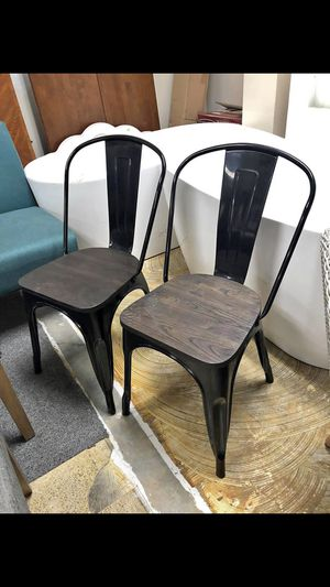 Carlisle Metal Dining Chair Black/Espresso - Set of 2 for Sale in Indianapolis, IN