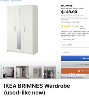 ALREADY BUILT ikea BRIMES wardrobe and Convenience Concepts Desk + chair for Sale in Newton, MA