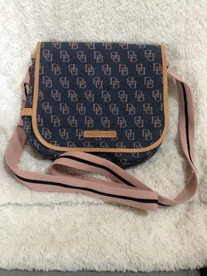Dooney & Burke blue canvas shoulder bag with rose monogram and rose/navy stripe strap. for Sale in Alexandria, VA