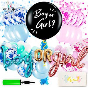 Gender Reveal Party Supplies - Decorations Kit for Baby Boy or Girl with Confetti, Pink and Blue Balloons, Large Black Balloon, and Banner Balloons - for Sale in Hacienda Heights, CA