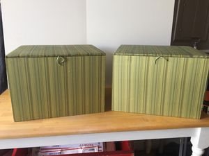 Pair of Fabric covered file boxes/ storage boxes from either Pottery barn or Pier 1 for Sale in Renton, WA