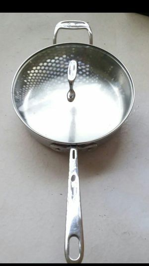 All-clad Emril 3 qt cooking Pan stainless steel double handle clear glass lid top / allclad / All clad pot for Sale in Fort Lauderdale, FL