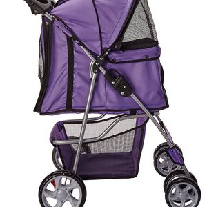 4 wheels pet stroller cat dog cage stroller travel folding carry navy blue for Sale in Carson, CA