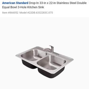 American StandardDrop-In 33-in x 22-in Stainless Steel Double Equal Bowl 3-Hole Kitchen Sink for Sale in Mount Baldy, CA