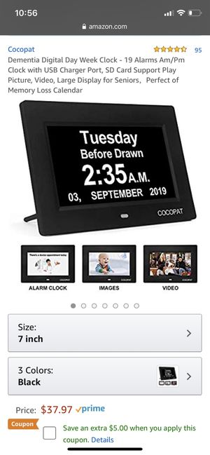 Dementia Digital Day Week Clock - 19 Alarms Am/Pm Clock with USB Charger Port, SD Card Support Play Picture, Video, Large Display for Seniors,Perfect for Sale in Queens, NY