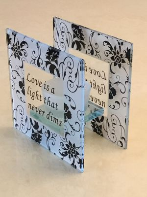 Square Glass T-Lite Black White Floral Love Bridal Candle Holder Love is a Light that never dims for Sale for sale  Staten Island, NY