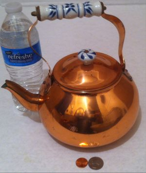 Vintage Metal Copper and Porcelain Tea Pot, Tea Kettle, Kitchen Decor, Table Display, Shelf Display for Sale in Lakeside, CA