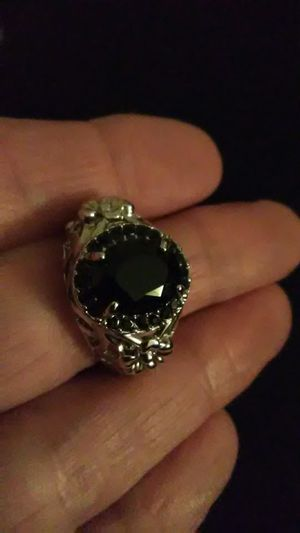 Size 7 , 3 carat black sapphire 925 Sterling for Sale in Lombard, IL