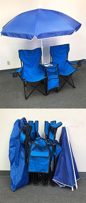 New in box $35 Portable Folding Picnic Double Chair w/ Umbrella Table Cooler Beach Camping Chair for Sale in Whittier, CA