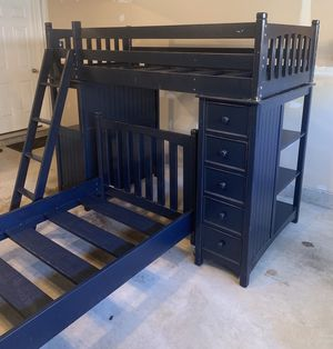 Great bunk bed, desk, shelves and drawers combo - Solid wood for Sale in Lorton, VA