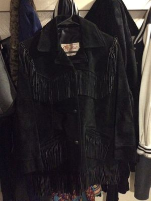 Black suede coat with fringe for Sale in Verona, PA