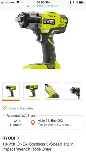 RYOBI 18-Volt ONE+ Cordless 3-Speed 1/2 in. Impact Wrench for Sale in Oakland, CA