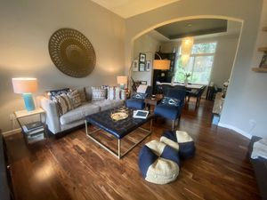 Couch, 2 blue accent chairs, pillows for Sale in Mukilteo, WA