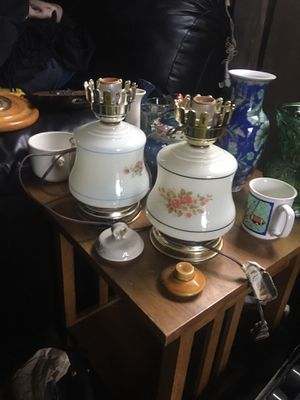 Antique hurricane matching lamps for Sale in Westport, WA