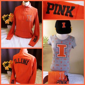 PINK vs ☆ University of Illinois ☆ collegiate fan gear BUNDLE ♡ t-shirt + sweatshirt + hat ♡ small for Sale in Vernon, WI