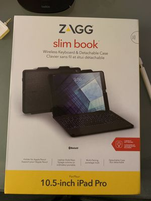 ZAGG slim book Wireless Keyboard & Detachable Case w/Apple Pencil Holder for iPad Pro 10.5 for Sale in Menifee, CA