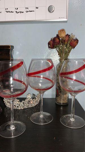 Set of 3 Antique Wine Glasses for Sale in Santa Ana, CA