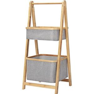2-Tier Bamboo Fabric Storage Rack, Folding Frame for Living Room, Bathroom, Balcony, Storage Basket, Natural for Sale in Ontario, CA