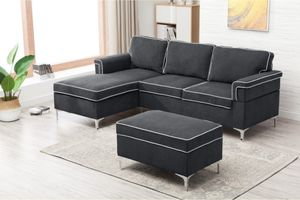 New dark Grey Sectional w/ Ottoman for Sale in Puyallup, WA