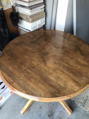 Lovely just restrained real wood table with 4 chairs two blanks two white for a country french feel 45.00 OBO for Sale in Pleasanton, CA