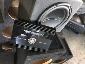 "Car audio bundle deal single 12"" subwoofer with box great sub Phoenix gold and soundstream amplifier great amp work great sound great for Sale in Fremont, CA"