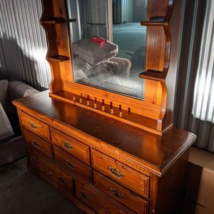 Beautiful Solid Wood Dresser with Hutch Mirror for Sale in Durham, NC
