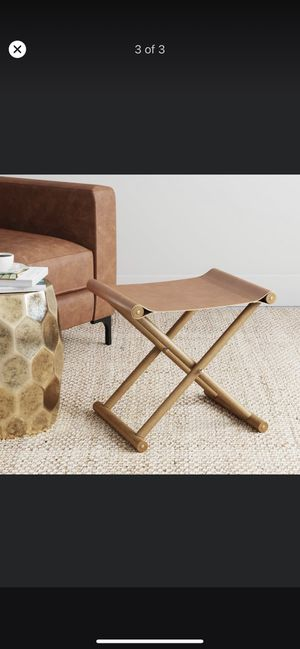 Campaign Faux Leather Folding Wooden Stool, Solid Wood Frame Soft Vegan Leather Seat, Light Brown for Sale in Alhambra, CA